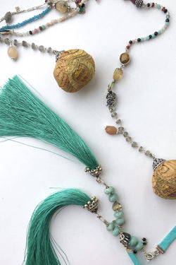 Emerald Ocean - Adelina1001, green tassels, emerald,  silver necklace, pompons, натуральные камни, серебро