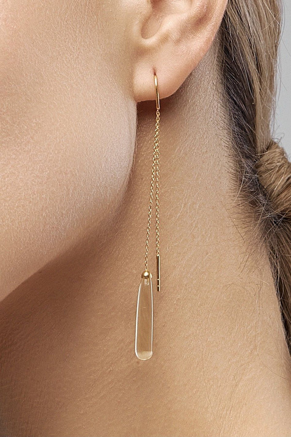 Lemon Quartz Drops Long Earrings (gold) - adelina.world