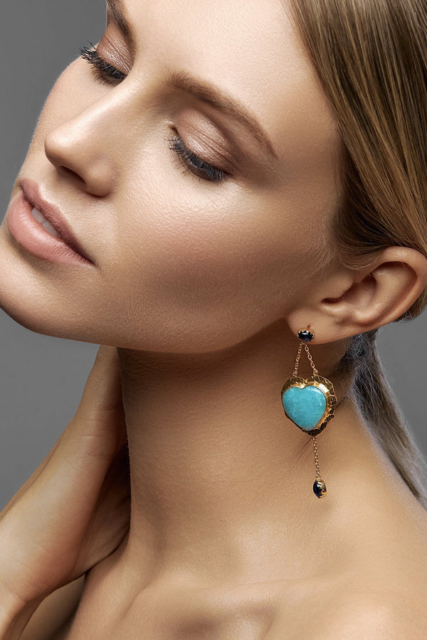 Blue Heart Boho Earrings - adelina.world