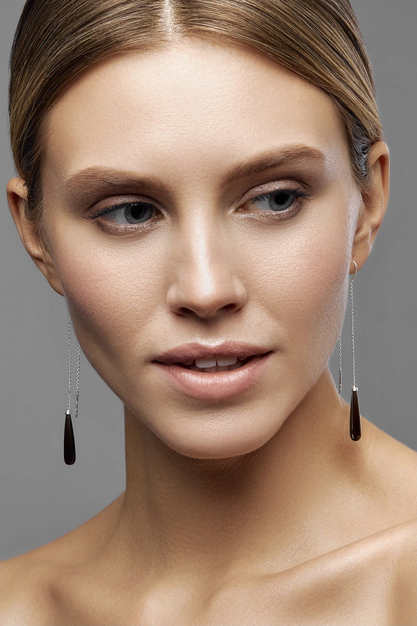 Smoky Quartz Drops Long Earrings - adelina.world