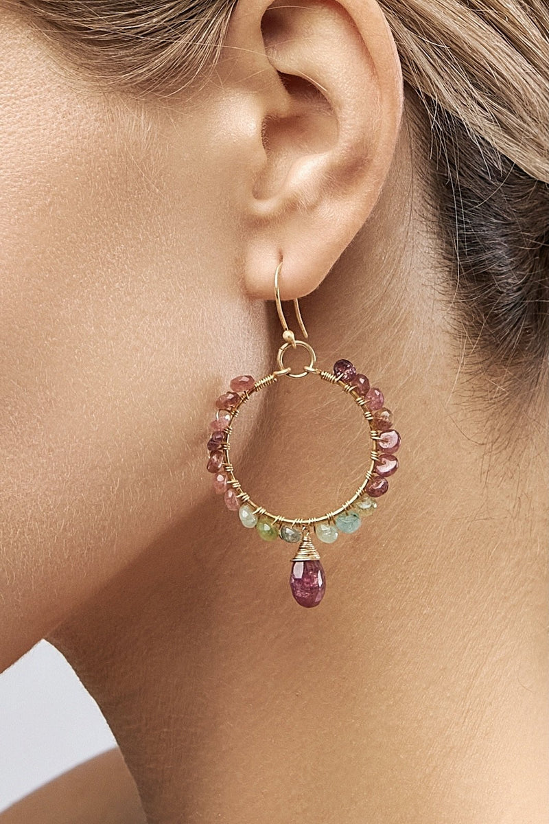 Circle Tourmaline Boho Earrings - Adelina1001, Authentic stones, silver, 14K Gold Filled, handmade,  high quality, серебро, турмалин, позолота