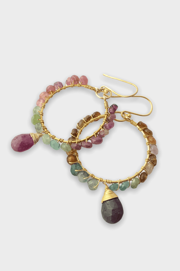 Circle Tourmaline Boho Earrings - adelina.world