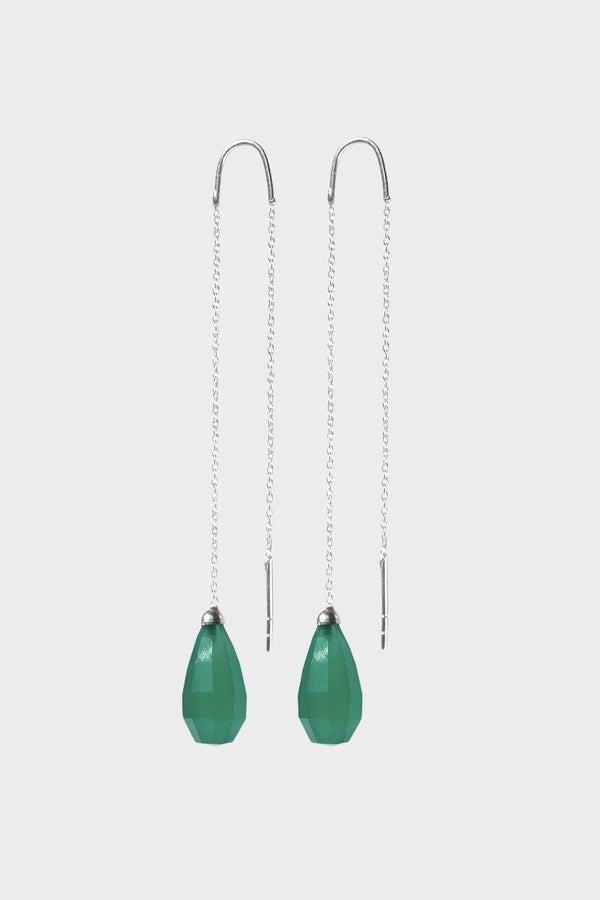 Green Onyx Drops Earring, Green Onyx Glow Drops Long Earrings - Adelina1001, серьги, оникс, серебро, jewelry, silver, earrings, drops, イヤリング、宝石類、長いイヤリング、宝石類