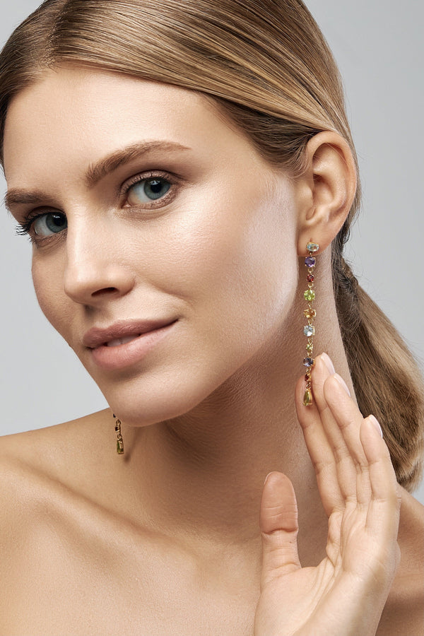 Multicolor Line Boho Earrings - Adelina1001, Authentic stones, silver, handmade high quality, 14K Gold Filled  These amazing long earrings were handmade from blue topaz amethyst garnet, peridot, citrine.