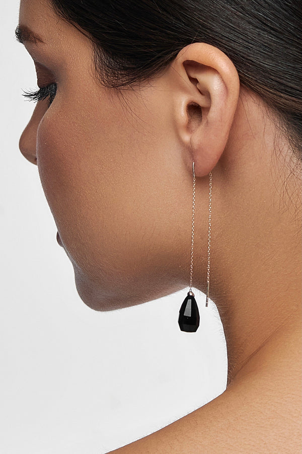 Black Onyx Glow Drops Long Earrings - adelina.world