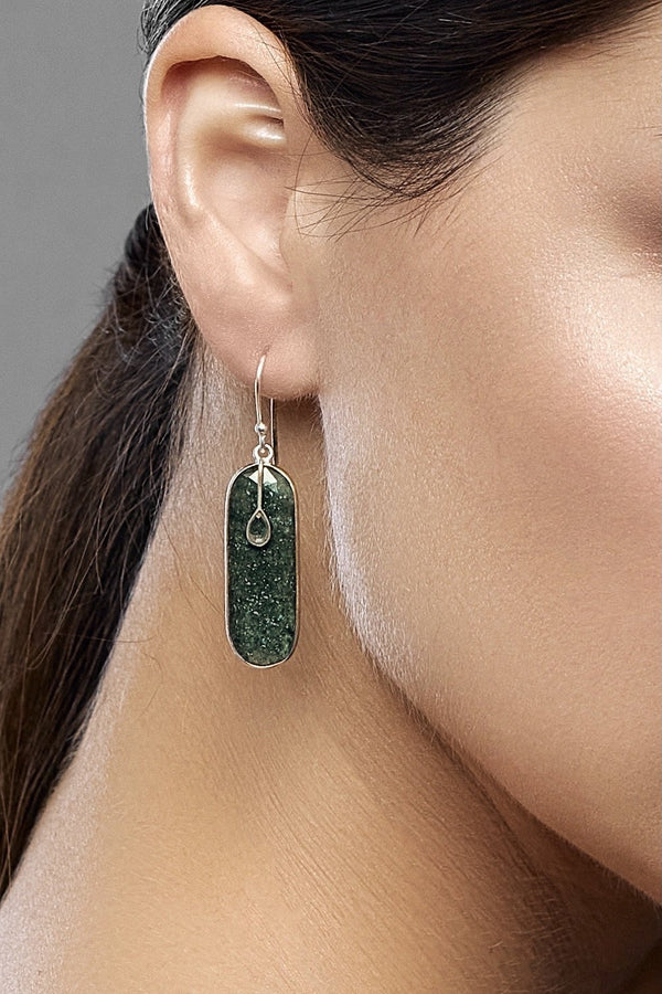 Aventurine Brick Earrings