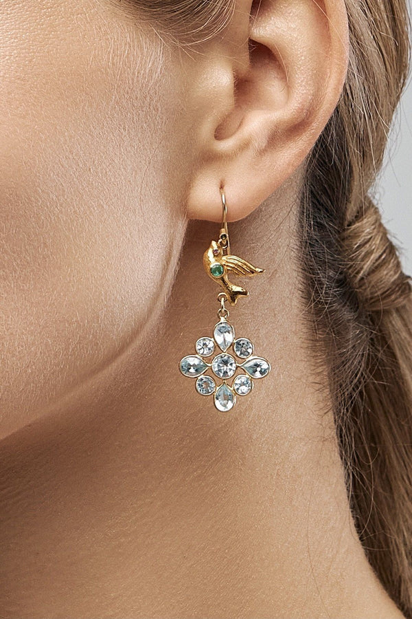 Gold Bird Boho Earrings - Adelina1001, Authentic stones, silver, handmade,  high quality, 14K Gold Filled. бохосеьги