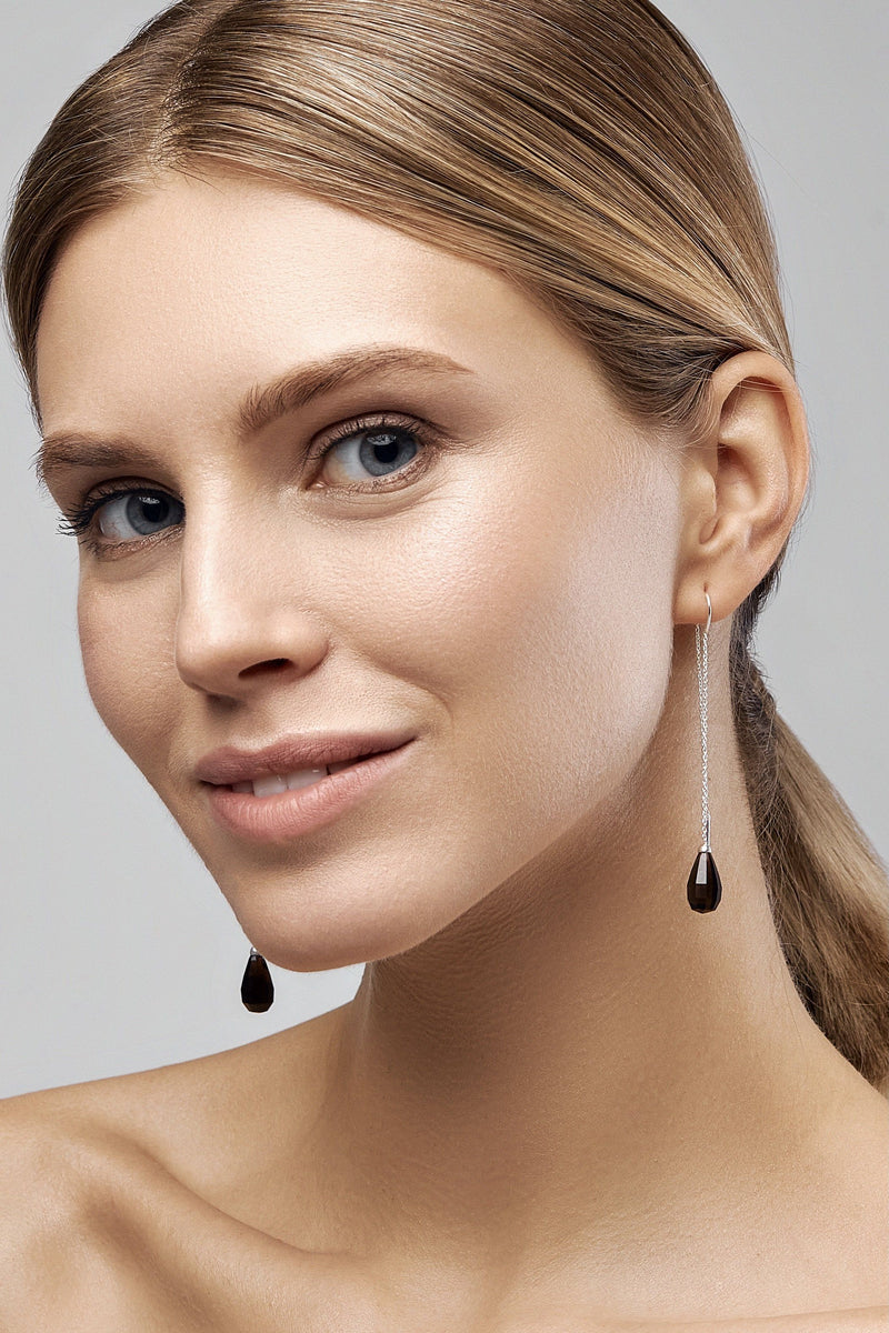 Smoky Quartz Glow Drops Long Earrings - Adelina1001, jewelry, silver, earrings, серьги, серебро,