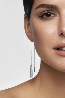 Aqua Chalcedony Drops Long Earrings - adelina.world