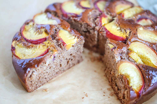 Vegan Almond Peach Cake Recipes | Roshni Sanghvi