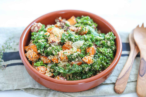 Vegan Sweet Potato Kale Salad Recipe | Roshni Sanghvi
