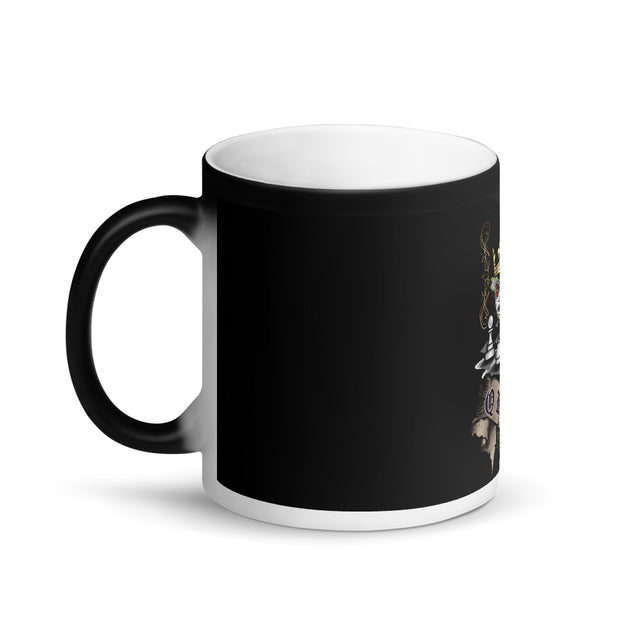 Queen Protects the king Chess Theme Black Mug