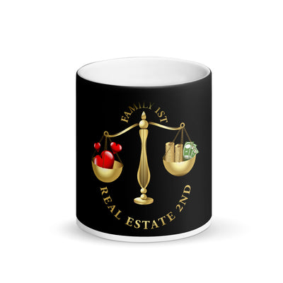 Family First Real Estate second Matte Black Magic Mug