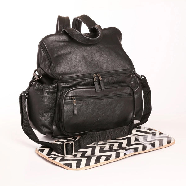 Black - Leather Nappy Backpack