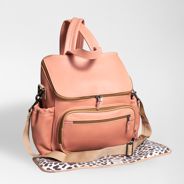 Coral - Leather Nappy Backpack