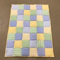 Patchwork Cot Quilt - Blue, Green & Yellow