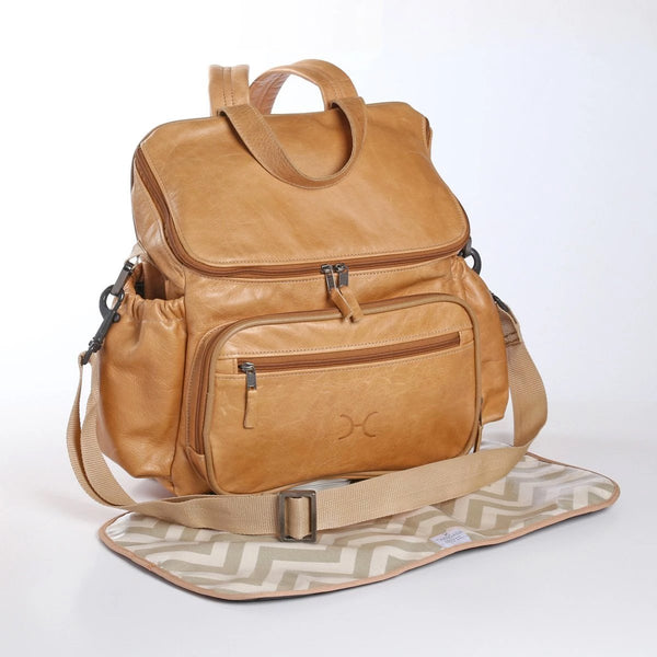 Hazelnut - Leather Nappy Backpack