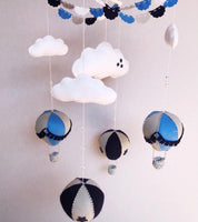Hot Air Balloon Cot Mobile - Grey, Blue & Navy Fabric