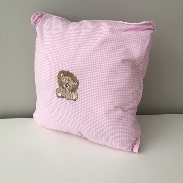 Jungle Animals Pink & Stone Lion -  Scatter Cushion