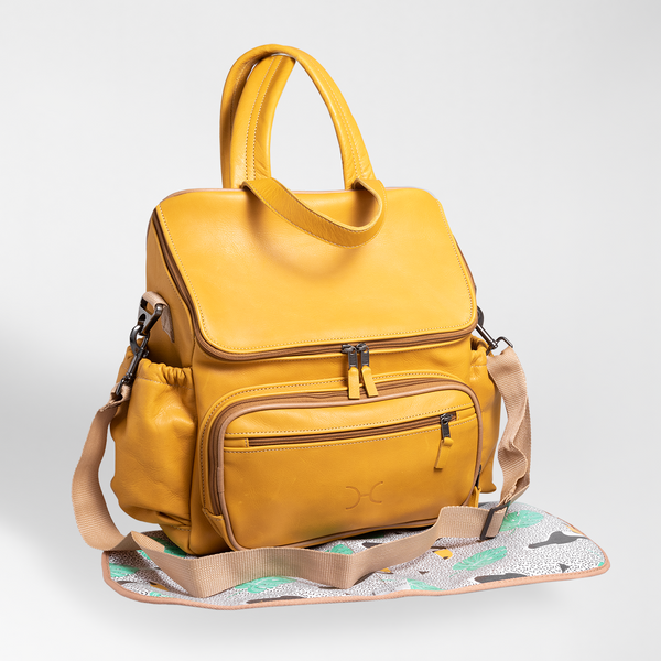Mustard - Leather Nappy Backpack