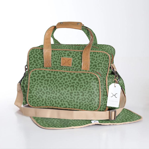 Cheetah Olive - Laminated Nappy Bag