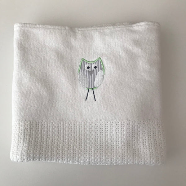 Owl & Ellie Cellular Cot Blanket - Lime Green & Grey
