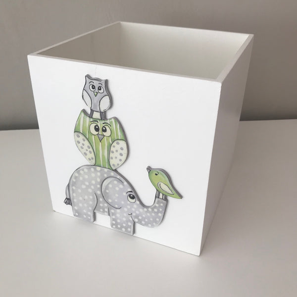 Owl & Ellie Dustbin - Lime Green & Grey