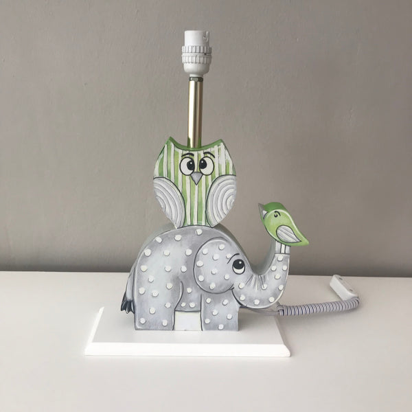 Owl & Ellie Lamp Base - Lime Green & Grey