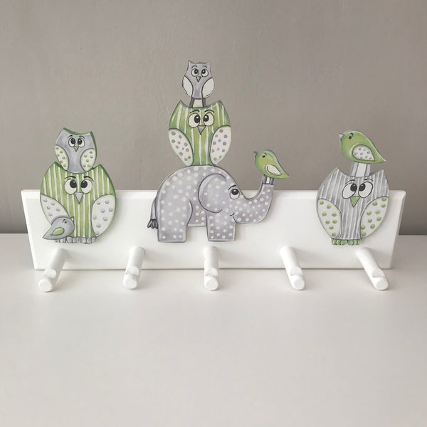 Owl & Ellie Peg Hanger - Lime Green & Grey