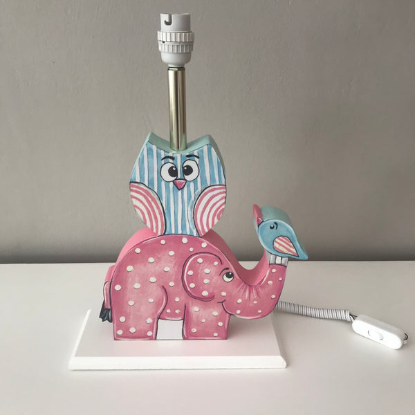 Owl & Ellie Lamp Base - Pink & Aqua