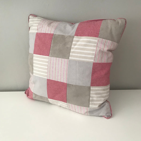 Patchwork Scatter Cushion - Red & Stone