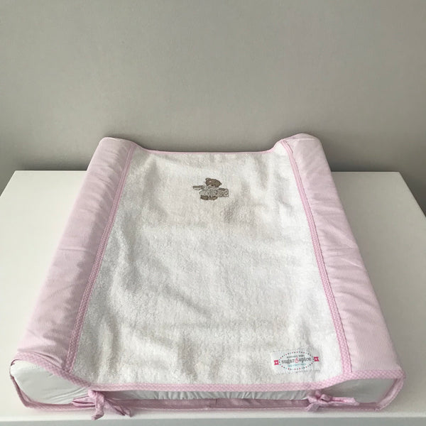 Scruffy Bear Stone & Pink - Changing Mattress Cover & Inner