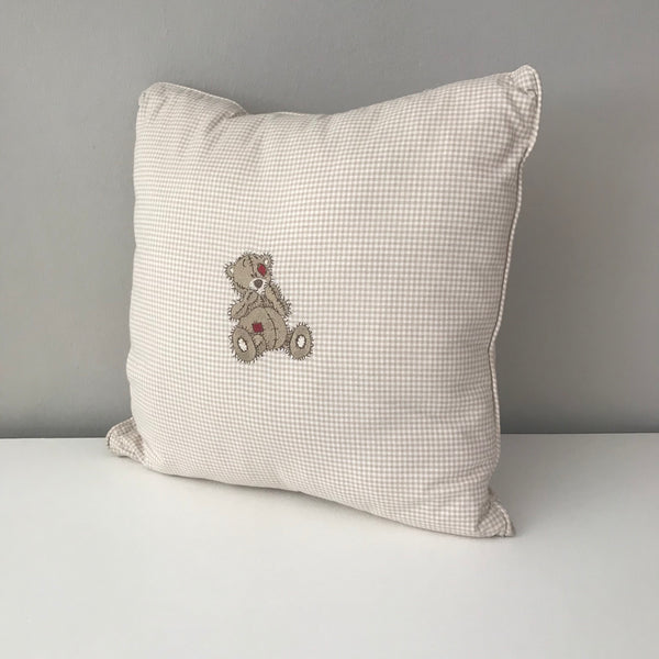 Scruffy Bear Stone & Red -  Scatter Cushion