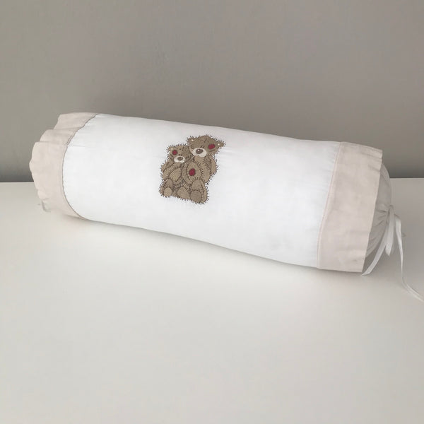 Scruffy Bear Stone & Red - Bolster Cushion