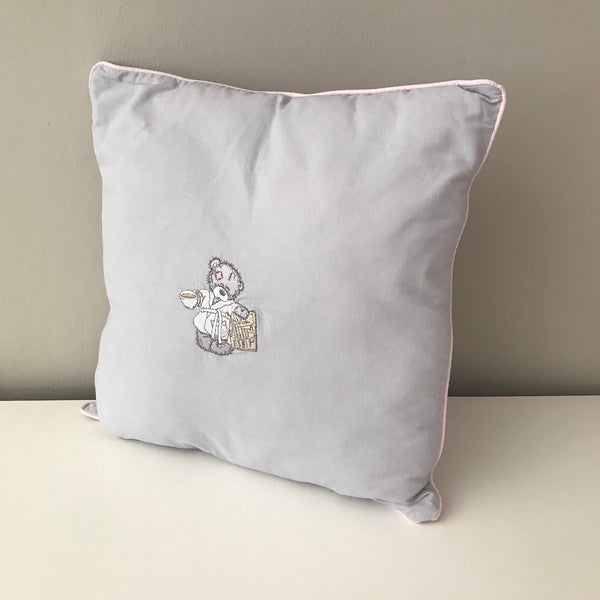Scruffy Bear Grey & Pink -  Scatter Cushion