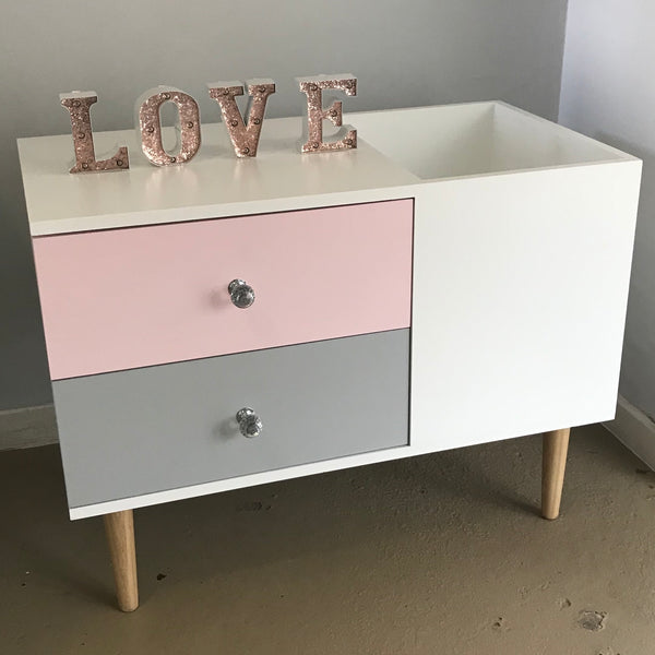 Side Table 2 Drawers with Toy Box