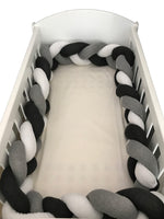 Braided Cot Bumper - Charcoal, Grey & White