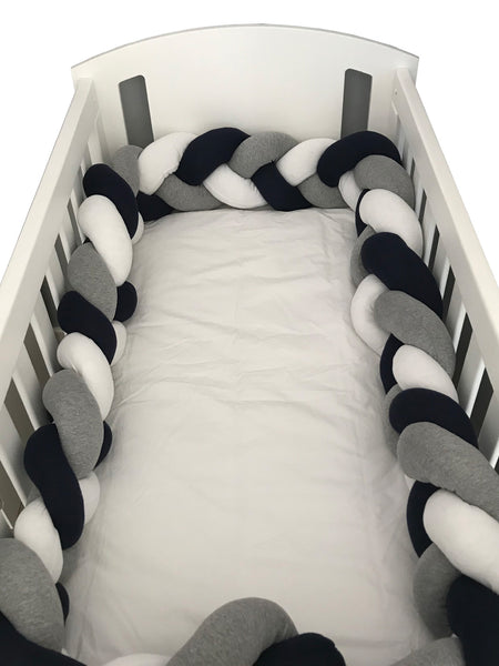 Braided Cot Bumper - Navy, Grey & White