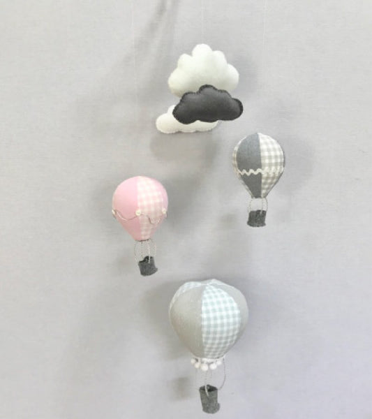 Hot Air Balloon Cot Mobile - Pink & Grey Fabric