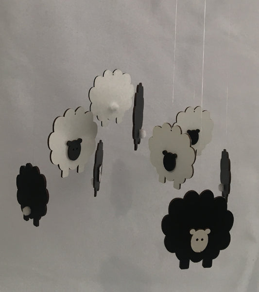 Sheep Cot Mobile - Black & White Wood