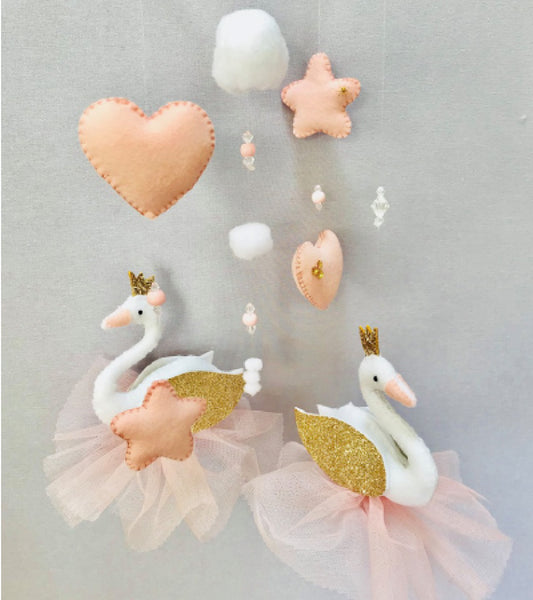 Swan Cot Mobile - Blush & Gold Felt