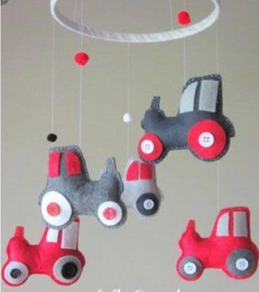 Tractor Cot Mobile - Red & Grey Felt