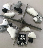 Woodlands Cot Mobile - Charcoal, Grey & White Felt