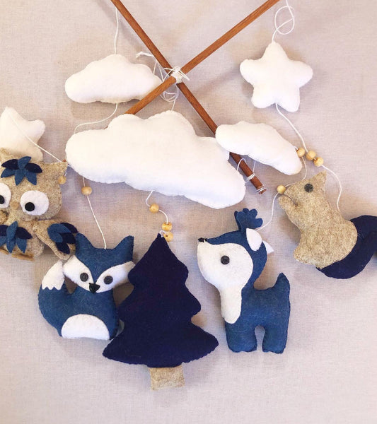Woodlands Cot Mobile - Navy & Stone Felt