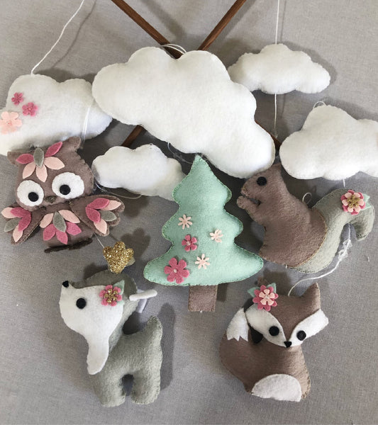 Woodlands Cot Mobile - Stone, Grey, Pink & Mint Felt