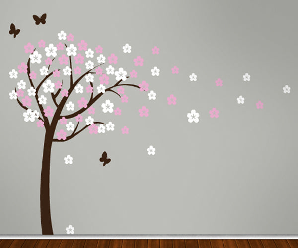 Blossom Tree With Butterflies - Vinyl Sticker