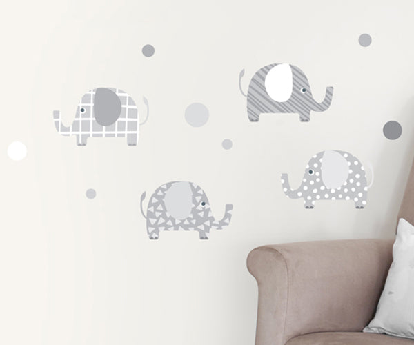 Vinyl Wall Art of Grey and White Elephants
