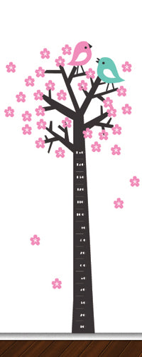 Tree Silhouette Height Chart (Birds With Blossoms) - Vinyl Sticker
