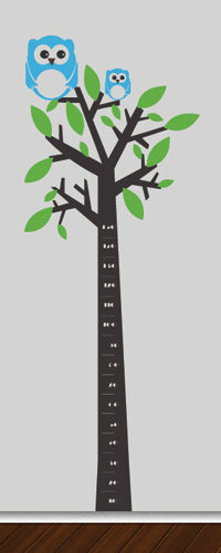 Tree Silhouette Height Chart (Father & Son Owls) - Vinyl Sticker