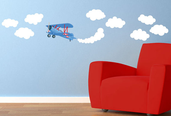 Blue Aeroplane & Clouds - Vinyl Sticker